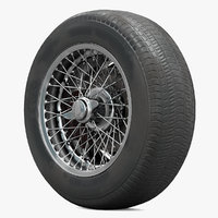 Retro Car Wheel With Spokes, Tire and Brake