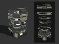Lowpoly Modular Scifi Building 04