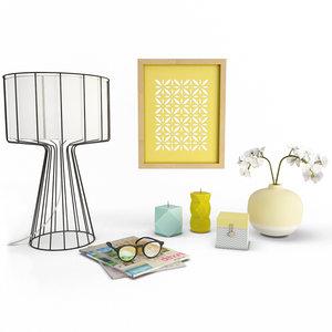 3D decorative objects interiors living room