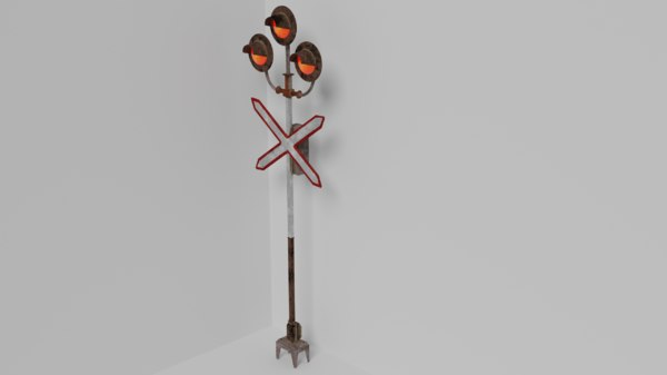 3D railroad crossing low-poly model