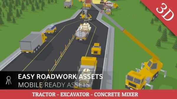 simple roadwork assets tractor model