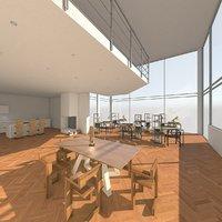 shared office interior 3D model