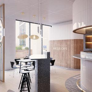 3D modern cafe interior