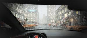 3D scene car buildings rainy model