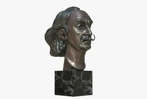 sculptural salvador dali bust model