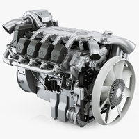 3D mercedes-benz om502la diesel engine