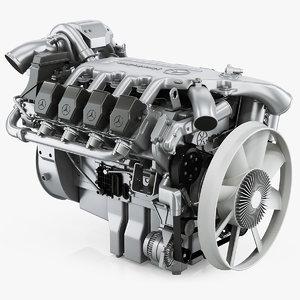3D mercedes-benz om502la diesel engine