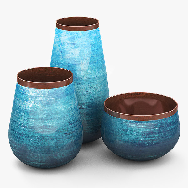 decorative set ceramic vases 3D model