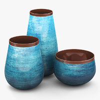 decorative set ceramic vases 3D model