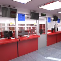 post office interior 3D model