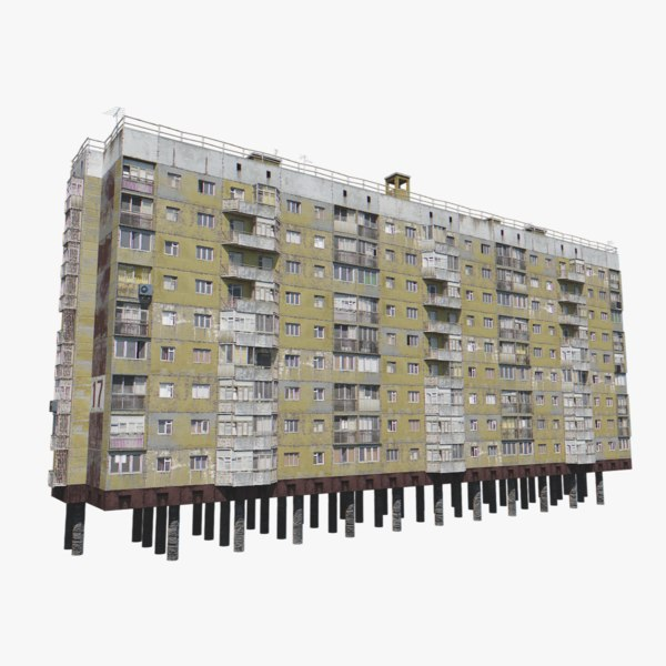 3D soviet concrete panel-block