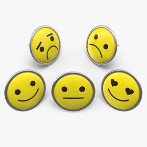 3D model assorted smiley face pins