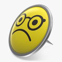 3D discontent face push pin model