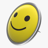 happy smiley pin 3D