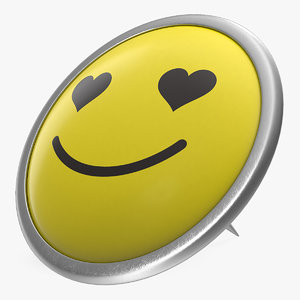 3D love face push pin model