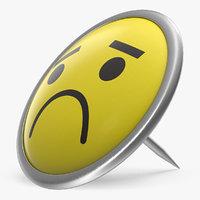 3D model pin unhappy face