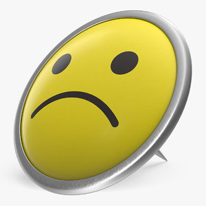 3D sad smiley pin