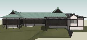 3D model floor japanese house rendition