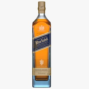 3D johnnie walker blue label bottle
