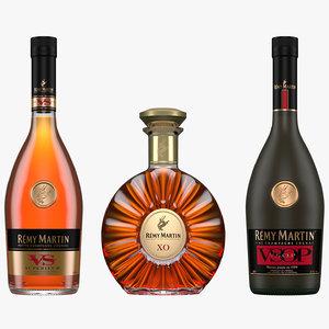 remy martin cognac bottles 3D model