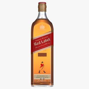 3D johnnie walker red label bottle