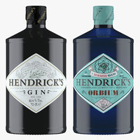 3D hendrick s gin bottles model