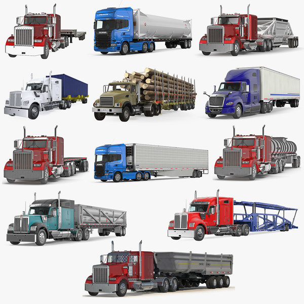 3D industrial trucks trailers model