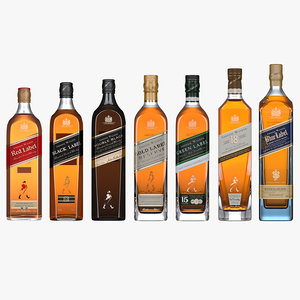 3D johnnie walker whisky flavours model