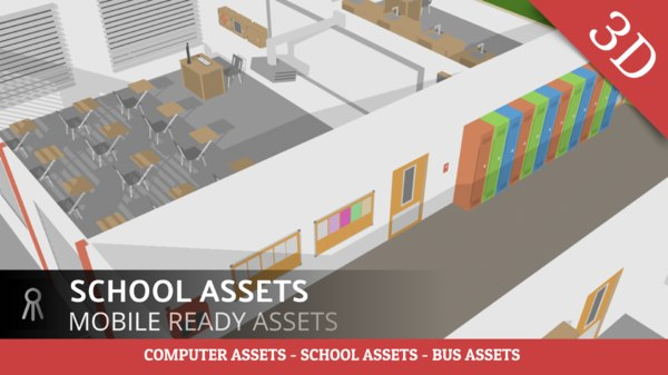 3D school assets desk projector