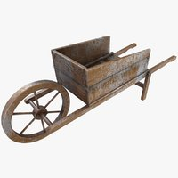 wooden wheelbarrow old 3D model