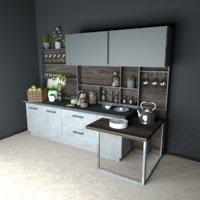 scene interior loft 3D