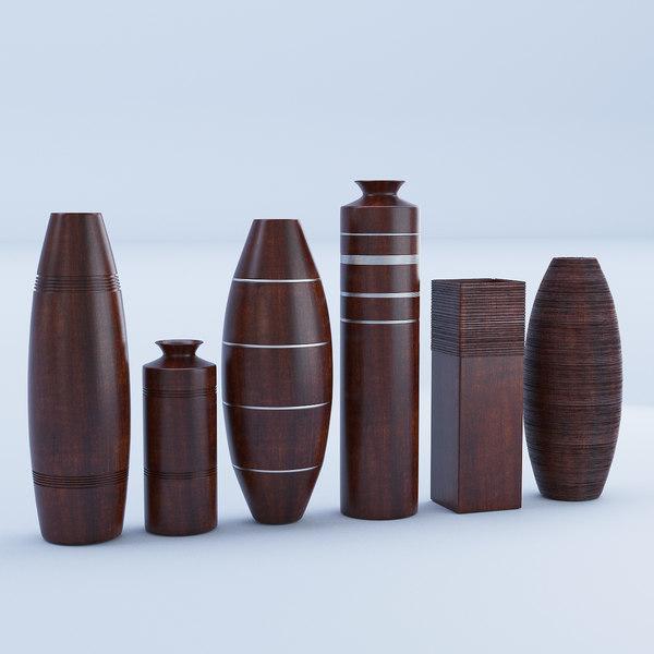 wood wooden vase 3D model