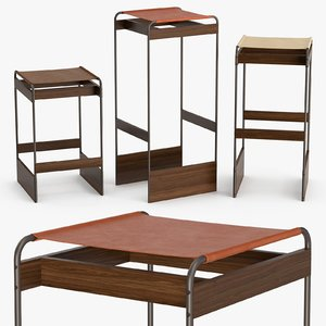 piedmont stool seat - 3D model