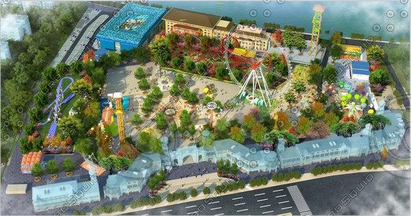 3D model animation scene amusement park
