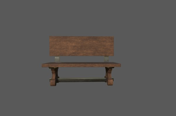 bench sitting outdoors 3D model