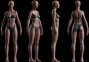 female basemesh realistic body 3D