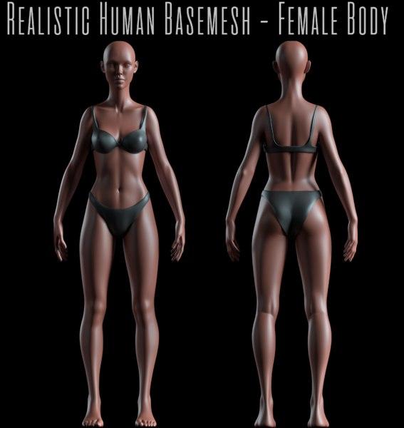 female basemesh realistic body 3D