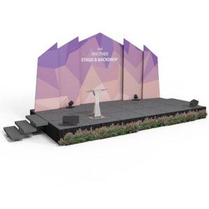 3D stage backdrop rostrum model