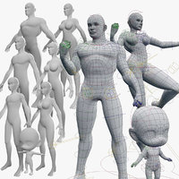 3D character meshes rigged base