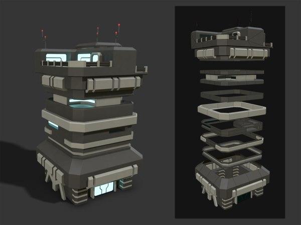 scifi building modular 3D model