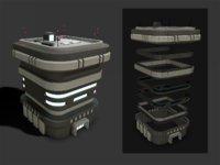Lowpoly Modular Scifi Building 02