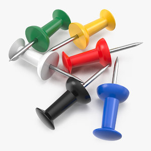 3D assorted colored push pins