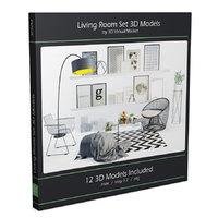 design living room modern furniture 3D model