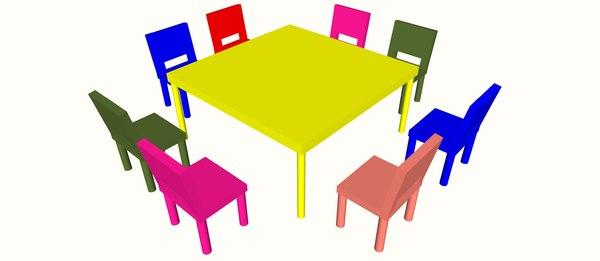kids table chair 3D model