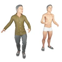 real cloths animation rigged character 3D