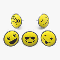 smiley faces pins 3D model
