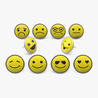 3D smiley face push pins model