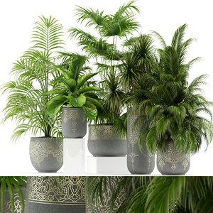 plants 147 handmade pots 3D model