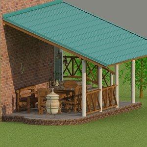 3D overed terrace furniture model