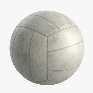 3D realistic old volleyball ball model